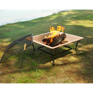 33-inch Square Copper Fire Bowl