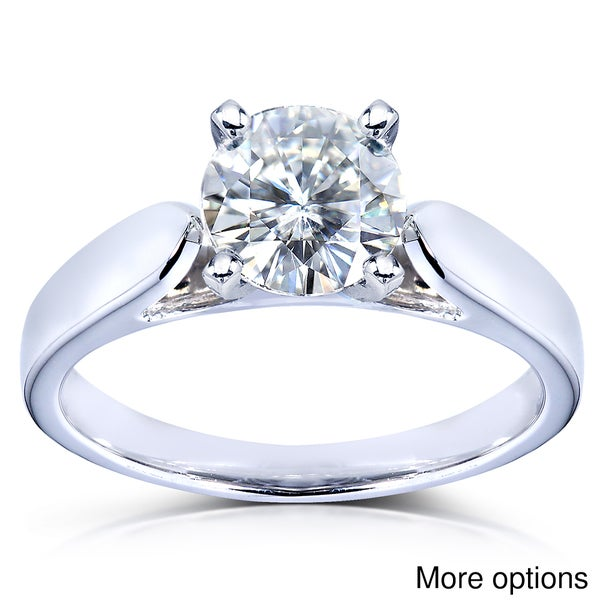 Annello by Kobelli 14k White Gold Round Moissanite Solitaire 4-prong Engagement Ring
