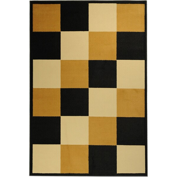 "Ottomanson Paterson Collection Checkered Multicolor Geometric Jute-Backed Area Rug (3'3"" x 4'7"")"