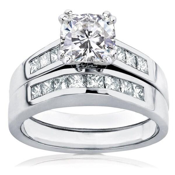 Annello by Kobelli 14k White Gold 1 3/4ct TGW Cushion-cut Moissanite (HI) and Princess-cut Diamonds Channel Bridal Set