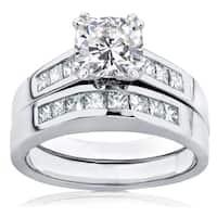Annello by Kobelli 14k White Gold 1 3/4ct TGW Cushion-cut Moissanite and Princess-cut Diamonds Channel Bridal Set
