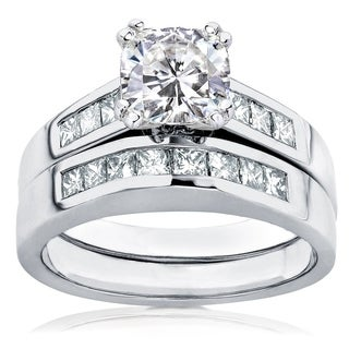 Annello by Kobelli 14k White Gold 1 3/4ct TGW Cushion-cut Moissanite (HI) and Princess-cut Diamonds Channel Bridal Set (More options available)