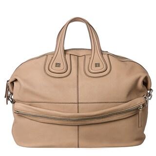 Givenchy 'Nightingale' Large Beige Goatskin Leather Satchel Bag