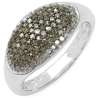 Malaika Sterling Silver 1/2ct TDW Champagne and White Diamond Ring (I-J, I3)