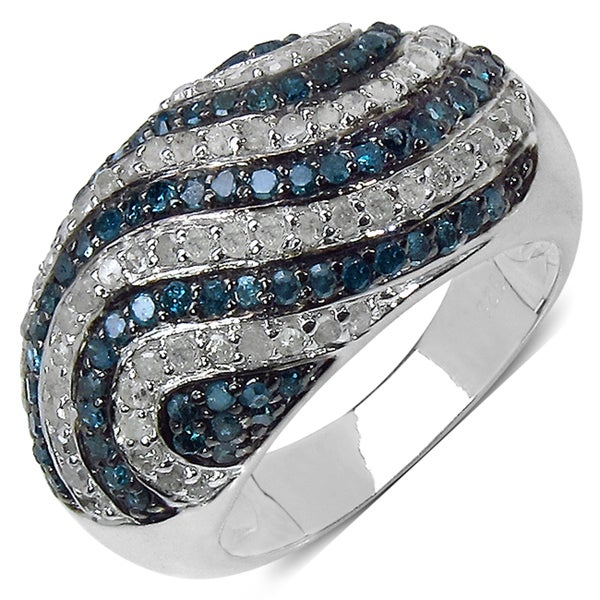 Malaika Sterling Silver 1 1/3ct TDW Blue and White Diamond Ring (I-J, I3)