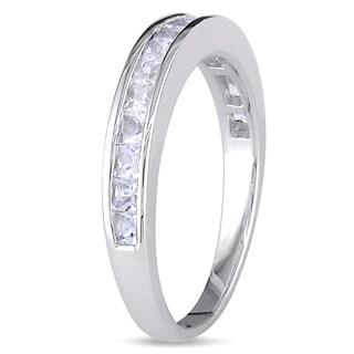 Miadora Sterling Silver Square-cut Gemstone Ring