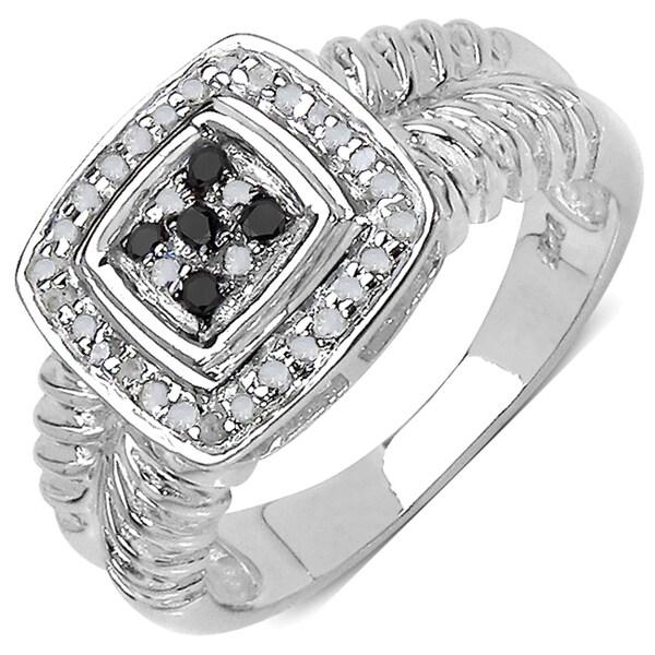 Malaika Sterling Silver 4/5ct TDW Black and White Diamond Ring