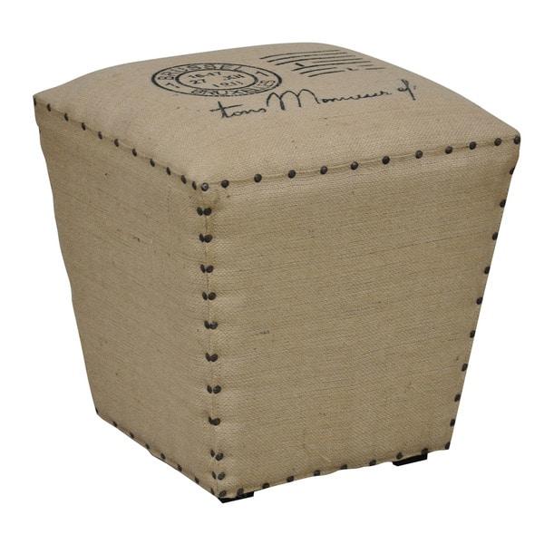 Kosas Home Joelle Khaki Jute Cube Stool