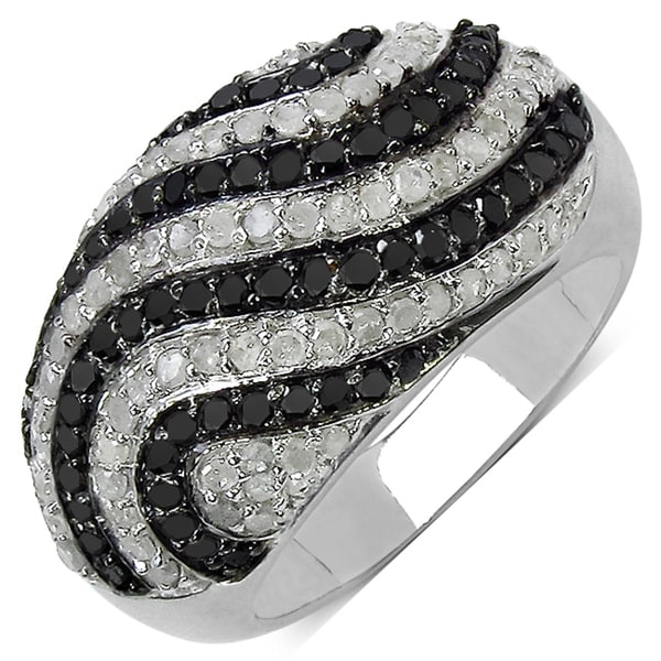 Malaika Sterling Silver 1 1/3ct TDW Black and White Diamond Ring (I-J, I3)