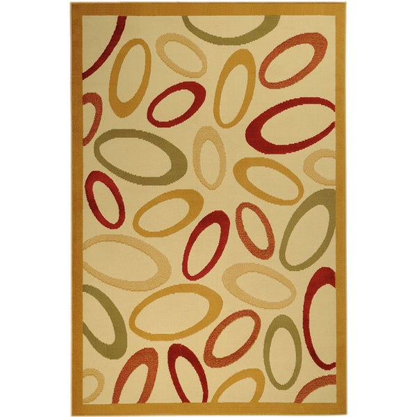 Ottomanson Paterson Collection Abstract Ivory Area Rug (3'3 x 4'7)
