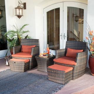 Bandio Outdoor 5-piece Brown Wicker Chat Set by Corvus|https://ak1.ostkcdn.com/images/products/7660178/P15073773.jpg?impolicy=medium