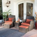 Bandio Outdoor 5-piece Brown Wicker Chat Set by Corvus