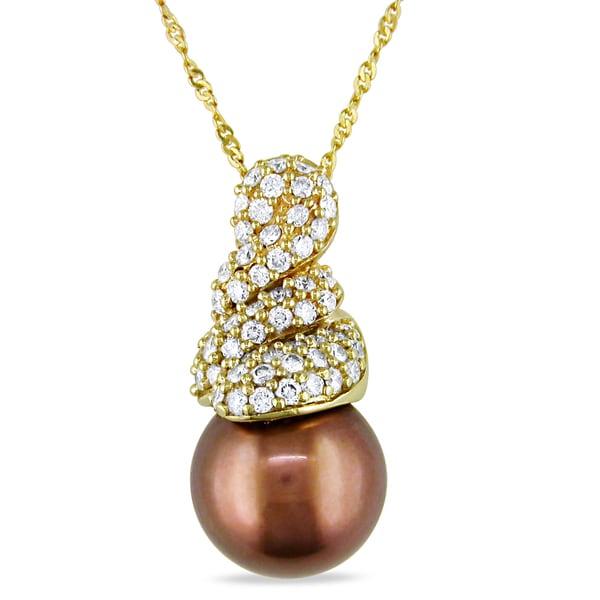 Miadora 14k Yellow Gold Tahitian Pearl and 3/8ct TDW Diamond Necklace (G-H, SI2)