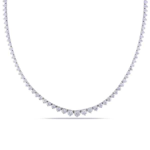 Miadora 18k White Gold 7ct TDW Diamond Tennis Necklace
