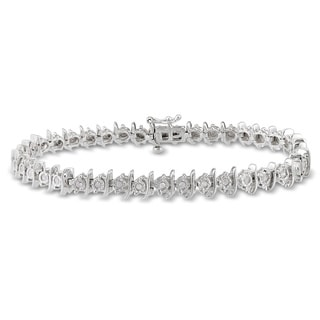 Miadora Sterling Silver 2/5ct TDW Diamond Bracelet