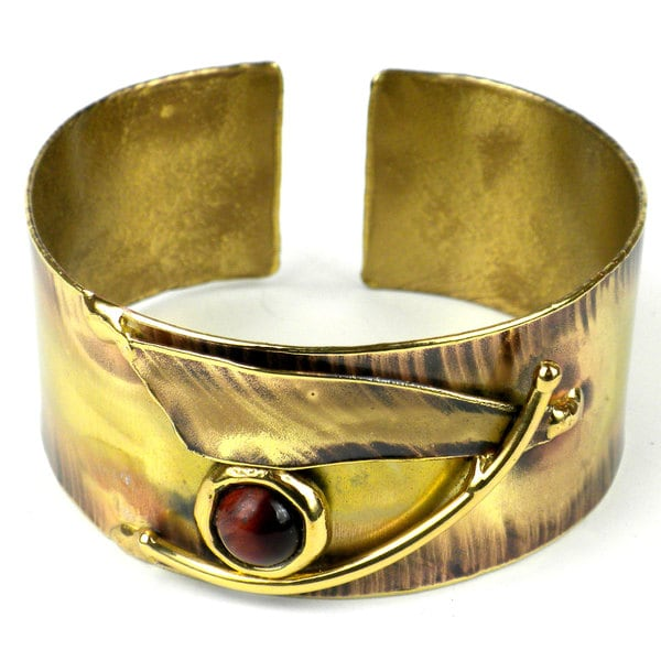 Handmade Blade and Red Tiger Eye Brass Cuff (South Africa)