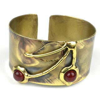 Handcrafted Carnelian Cherry Brass Cuff (South Africa)