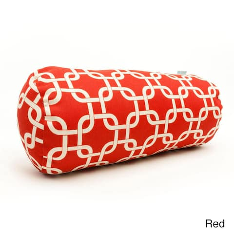 Majestic Home Goods Indoor Outdoor Red Links Round Bolster Throw Pillow