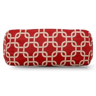 Majestic Home Goods Indoor Outdoor Red Links Round Bolster Throw Pillow - Small