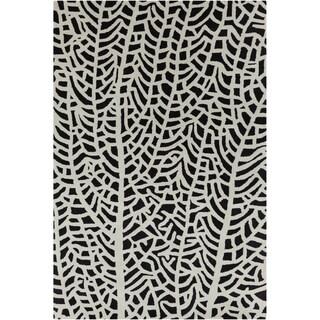 Allie Handmade Abstract White/ Black Wool Rug (5' x 7'6)