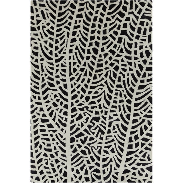 Allie Handmade Abstract White/ Black Wool Rug