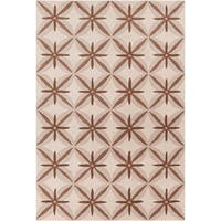 Allie Handmade Abstract Tan/Brown Wool Rug - 5' x 7'6