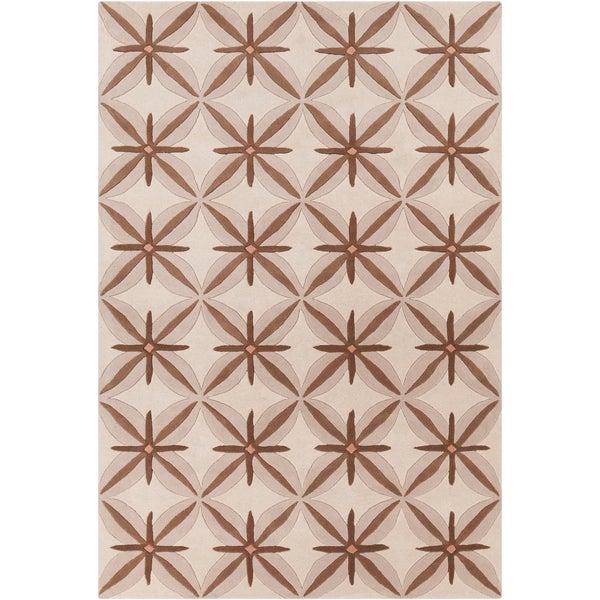 Allie Handmade Abstract Tan/Brown Wool Rug - 5' x 7'6
