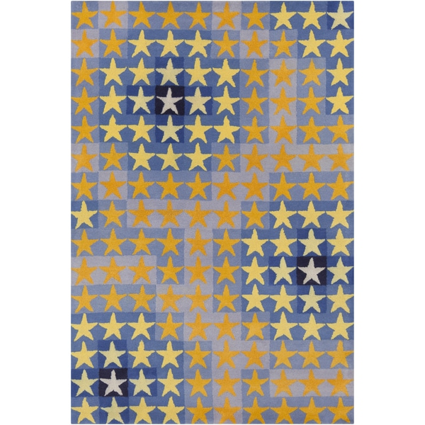 Allie Handmade Abstract Stars Wool Rug - 5' x 7'6