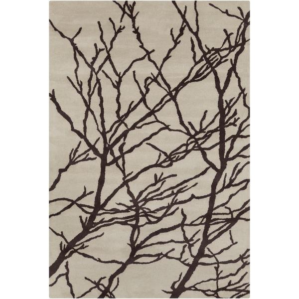 """Allie Handmade Floral Cream/ Brown Wool Rug - 5' x 7'6"""""""