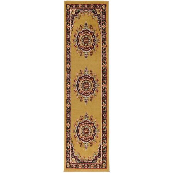 Ottomanson Paterson Collection Oriental Medallion Gold Runner Rug (1'11 x 6'11)