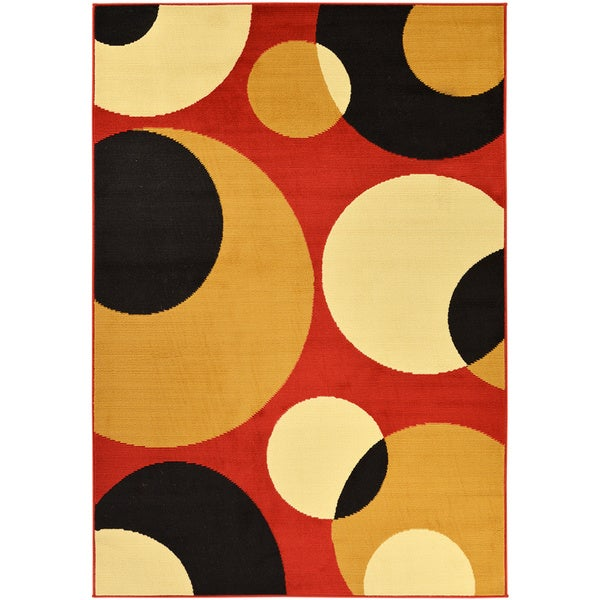 Ottomanson Paterson Collection Contemporary Abstract Circles Red Polypropylene Area Rug (8'2 x 9'10)