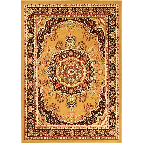 Ottomanson Paterson Collection Oriental Medallion Gold Area Rug (5' x 7')