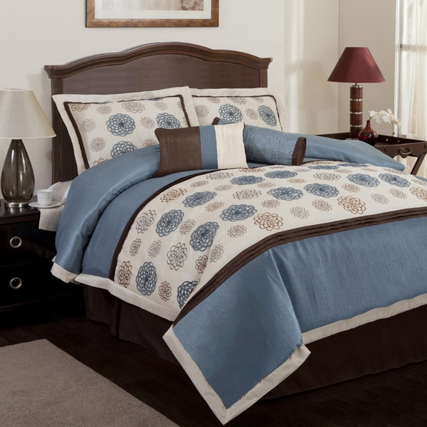 Lush Decor Tender Blossom Blue 6-piece Comforter Set