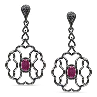 Miadora Signature Collection 14k Gold Purple Sapphire and 1/10ct TDW Black Diamond Earrings