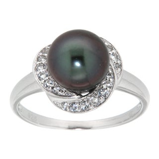 Pearlz Ocean Silver Black Tahitian Pearl and White Topaz Ring (9-10 mm)