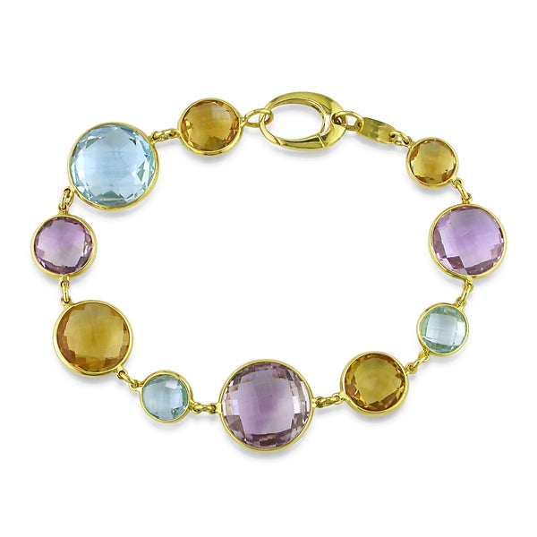 Miadora 18k Yellow Gold Amethyst, Citrine and Blue Topaz Link Bracelet