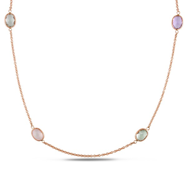 Miadora Signature Collection 18k Rose Gold Multi-gemstone Necklace