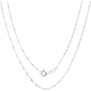 Fremada Italian Sterling Silver 1.22mm Singapore Chain (More options available)
