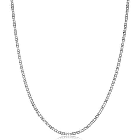 14k White Gold 2mm Diamond Weave Curb Chain