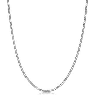Fremada 14k White Gold 2-mm Diamond Weave Chain