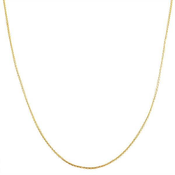 Fremada 14k Yellow Gold 0.7-mm Diamond-cut Square Wheat Chain