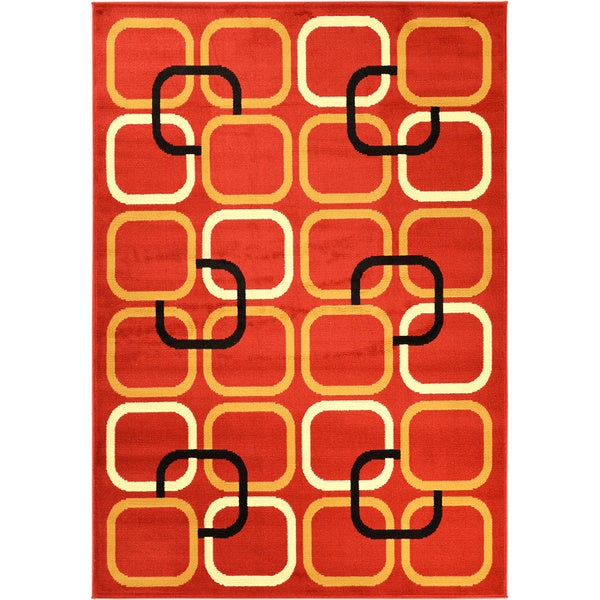 Ottomanson Paterson Collection Contemporary Abstract Red Area Rug (5' x 7')