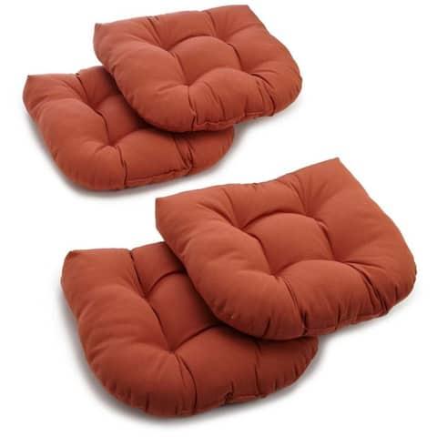 "Blazing Needles 19-inch U-Shaped Solid Chair Cushions (Set of 4) - 19"" x 19"""