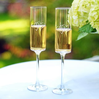 Two Hearts Contemporary Champagne Flutes