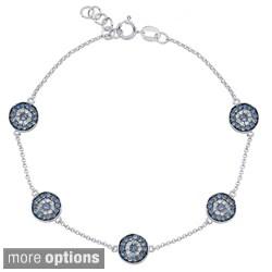 14k Gold Sapphire and 1/5ct TDW Diamond Evil Eye Bracelet (J-K, I2-I3)