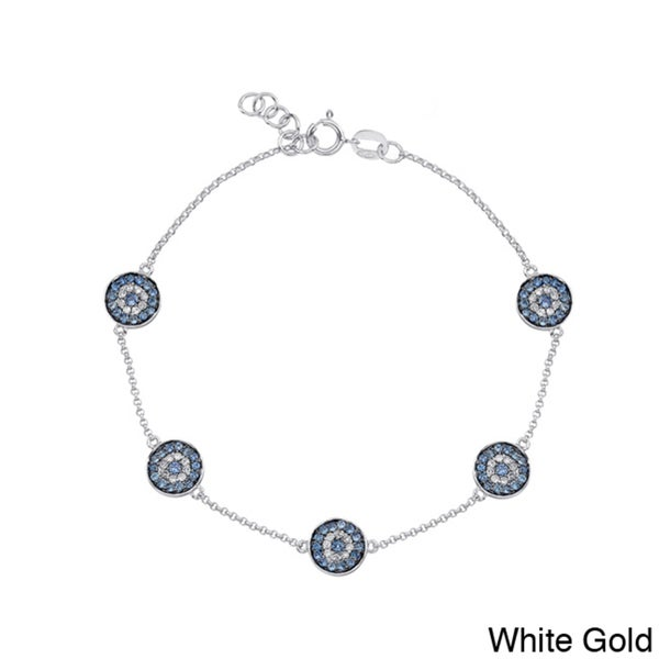 14k Gold Sapphire and 1/5ct TDW Diamond Evil Eye Bracelet (J-K, I2-I3)