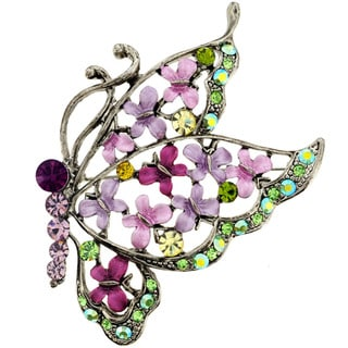 Silvertone Purple, Pink and Green Crystal Butterfly Brooch
