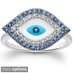 14k Gold Sapphire and 1/8ct TDW Diamond Evil Eye Ring (J-K, I2-I3) - Blue