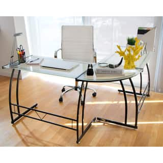 Lumisource desks computer tables for less overstock double bit black workstation desk gumiabroncs Choice Image