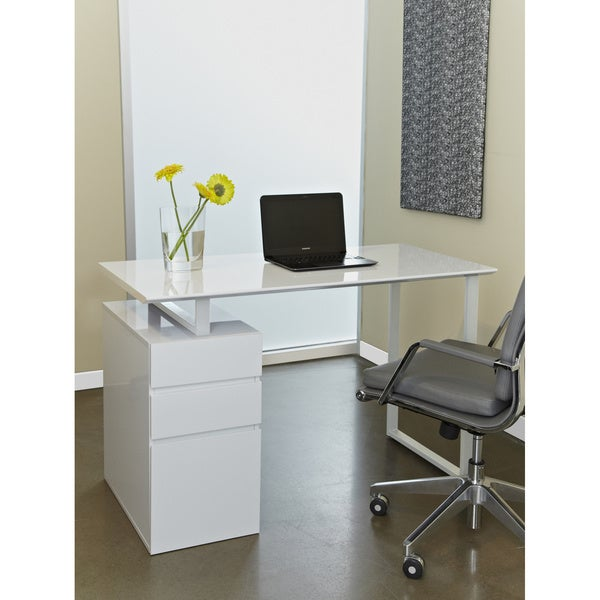 Unique Furniture Tribeca White Study Desk with Drawers
